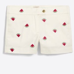 """J. Crew Shorts - J. Crew 3"""" embroidered critter shorts - Watermelon"""